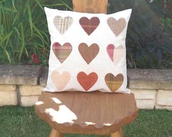 Scottish Tartan/Tweed heart cushion