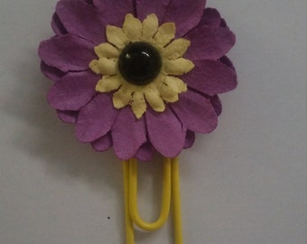 Purple flower paper clip