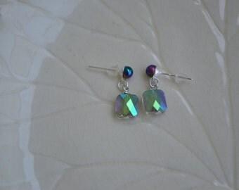 Blue green opalescent dangle stud earrings