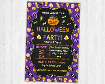 Halloween Party Invitation, Printable Halloween Invite, Halloween Invitations