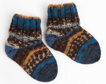 Hand Knitted Wool Socks EUR 16/17, UK kids 0.5/1.5
