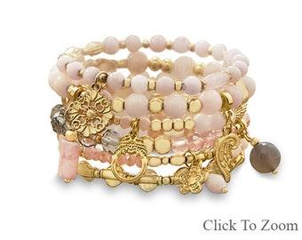 Rose Quartz Stacked Bracelet