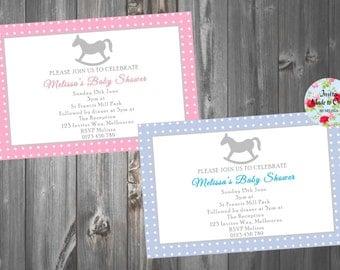 Baby Shower Invitation with cute rocking horse. Pink polka dots. Blue Polka Dots.