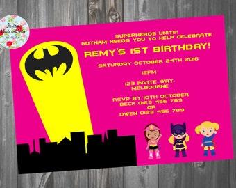 Pink Bat Girl Superhero Birthday Invitation Wonder Woman Super Girl