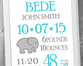"Birth Announcement Wall Art, Nursery Art, Baby Birth Print, Baby Name Art, Gift, Pink, Gray, 8x10"", A4, Custom Birth Print"
