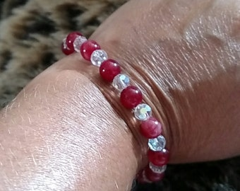 Beautiful Handmade Genuine Ruby Gemstone And Swarovski Crystal Stretch Bracelet