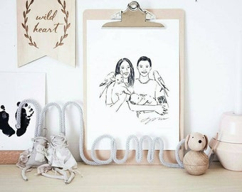 An illustrated custom portrait. Couple family portrait, custom illustration, birthday present, fathers day, valentines day gift