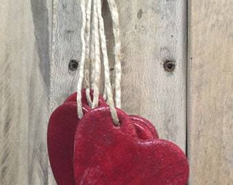 Shabby Chic Salt Dough Ornaments - Rustic Hearts, Wedding Decor and Party Favors, Gifts, Christmas, Valentine's, Bridal