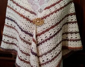 Hand Crochet Shawl, Acrylic and Wool
