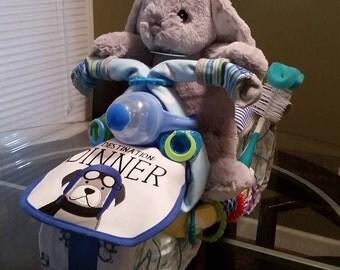 Motorcycle Diaper Cake, Diaper Cake, Unique Diaper Cake, Baby Shower Gifts, Baby Boy Motorcycle Diaper Cake