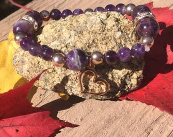 Amethyst Heart Beaded Healing Crystal Bracelet