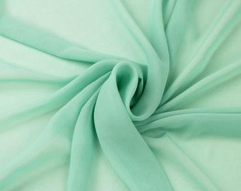 Hi Multi Chiffon Fabric by the Yard - Mint (LF1)