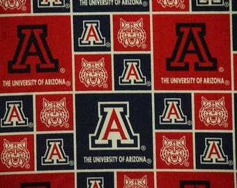 NCAA University of Arizona Wildcats 100% Cotton V1 Fabric by the yard (B400)