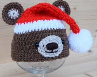 Crochet baby hat, Teddy Bear hat, Teddy Bear with Elf hat, Newborn photo prop, baby hat, baby boy, baby girl, newborn prop, Animal hat