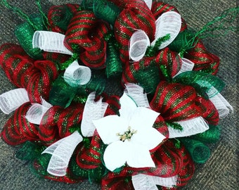 Green and Red Deco Mesh Christmas Wreath
