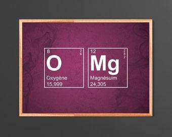 Affiche A3 Tableau périodique des éléments - OMG - Oh My God!