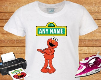 Any Name on T-shirt Elmo Sesame Street. Iron on Transfer, Elmo Sesame Street on Shirt. Personalized T-shirt. 2.