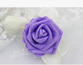 purple-7mm size Five layers PE foam rose flower heads(no stem)---choose your color style K02