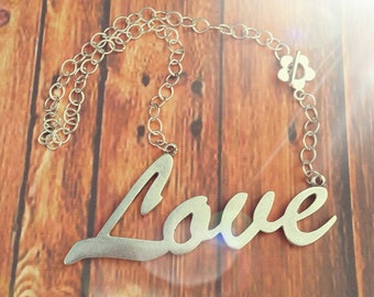 Love, necklace chain necklace with pendant love big silver, Love necklace