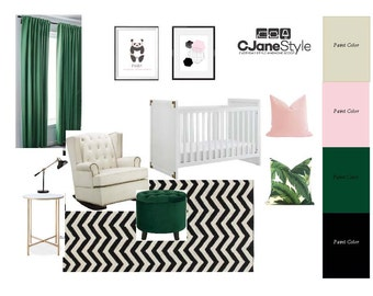 Modern Nursery, E-Design, Style Board with Resource/Product List and Paint Colors
