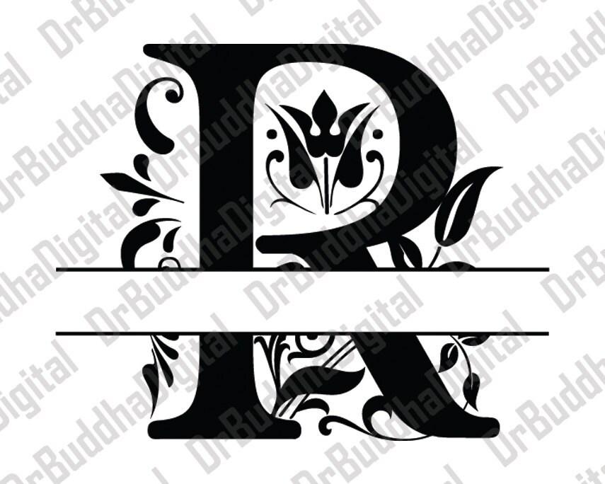 sale  split regal monogram font svg collection - split monogram alphabet dxf