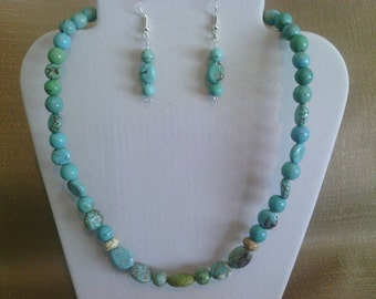 255 Blue, Green, and Accents of White, Magnesite Turquoise Beaded Choker
