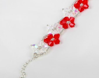 Christmas Red Crystal Swarovski Bicone Beaded Bracelet, Red Flowers Bracelet, Crystal Bracelet, Floral Bracelet, Elegant Bracelet, UK seller