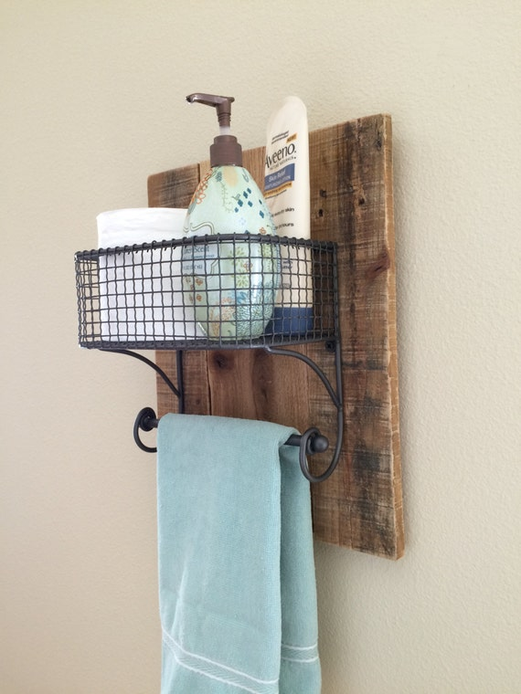 Rustic hand towel bathroom organizer rack on natural reclaimed for Bathroom hand towel holder