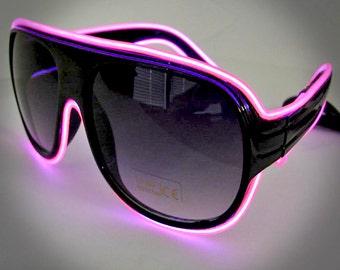 EL Wire Aviator Sunglasses - Light Up Sunglasses great for Burning Man, Burning Man Costumes, Rave Wear, EDM Wear, Festivals, Cosplay, etc.