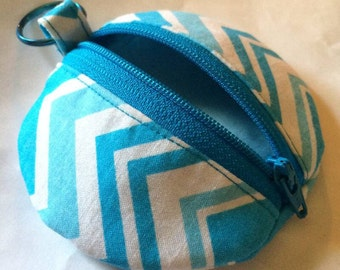 Blue Chevron Earbud Zipper Pouch, Coin Purse Zipper, Change Purse