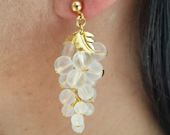 Grape Cluster Earrings Clear Beads