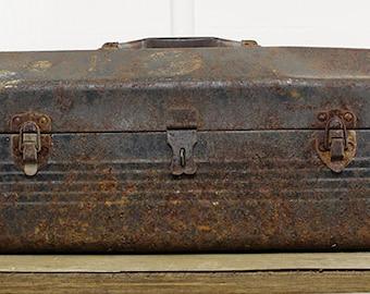Vintage Rusted Metal Tool Box