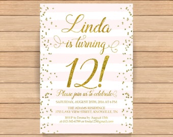 12th birthday invitation, Twelfth birthday, Gold glitter confetti, Pink stripes, Teen birthday invitation, ANY AGE, COLOR - 1561