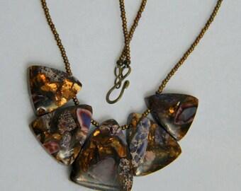 Satin Bronze Beaded Necklace with Purple Impression Jasper and Bronzite Triangle Pendant.