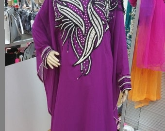 Holliday Gift!! Free Size African beaded  chiffon Kaftan dress.
