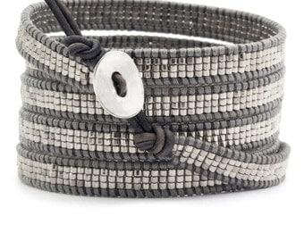 Bracelet Wrap indien cuir gris et perles argent à enrouler