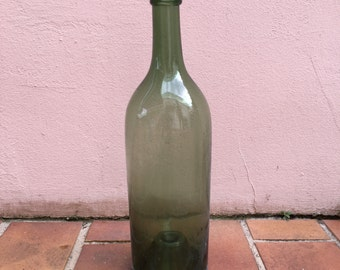 Old French Green Glass wine bottle 3