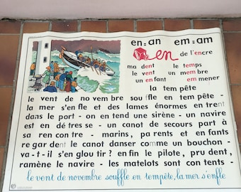 Vintage French School Poster 2 sides french lesson 2