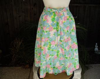 Vintage Meadowbank A Line Blue /Green/Pink Floral Skirt