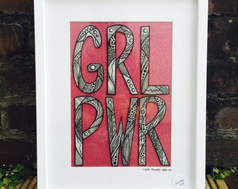 Girl Power - Glitter backed Pen and Ink original drawing