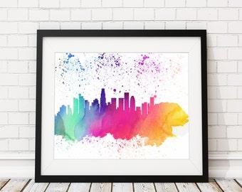 Los Angeles Skyline Print - Cityscape Print, Los Angeles Watercolor Art, Los Angeles Skyline Art, Watercolor Painting, Wall Art, California