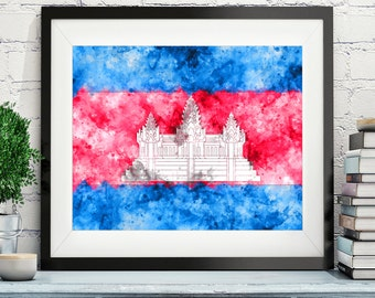 Cambodia Flag Art, Cambodia Flag Print, Flag Poster, Country Flags, Watercolor Painting, Watercolor Flag, Poster, Asian Wall Decor, Gifts