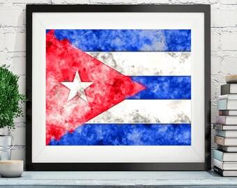 Cuba Flag Art, Cuba Flag Print, Flag Poster, Country Flags, Watercolor Painting, Watercolor Flag, Cuba Poster, Cuban Art, Pride, Gifts