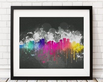Anchorage Skyline Print, Cityscape Print, Alaska Watercolor Art, Watercolor Painting, City Prints, Alaska Art, Watercolor Skyline, Gift Idea