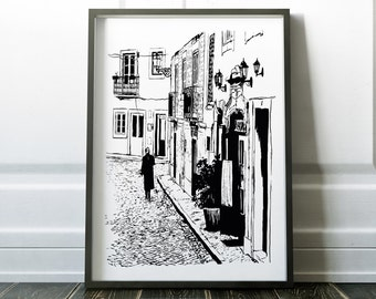 Black and white Wall Art Prints Lisbon Wall Decor Digital Print Modern Art Sketch B&W Scandinavian Print Wall Prints Minimalist Art Print
