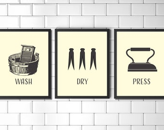 Laundry Room Wall Art Prints Set Vintage Style Laundry Art Wall Decor Minimalist Laundry Prints Modern
