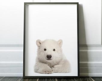 Polar Bear Print, Wall Art, Minimalist Print, Minimalist Art, Wall Art Print, Polar Bear, Nursery Wall Art, Cute Print, Nursery Print, Art