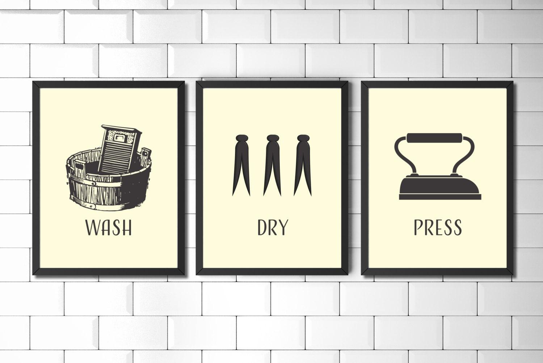 laundry room wall art prints set vintage style laundry art