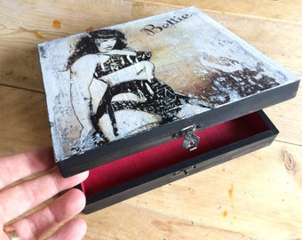 Bettie Page - Hand Painted Box