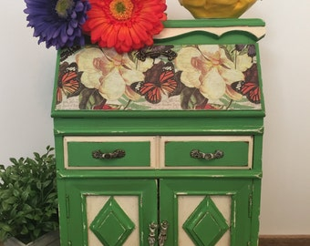 Upcycled Vintage Jewelry Box, Large, Jewelry Storage, Green, Vintage, Drawers, Hand Painted, Unique, Butterflies, Shabby Chic, Flowers